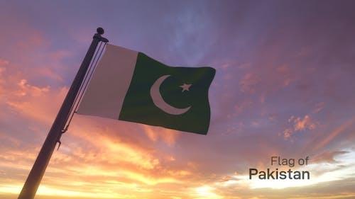 Pakistan Flag on a Flagpole V3
