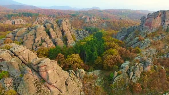 Aerial panoramic video of rocky cliffs in Belogradchik, Bulgaria