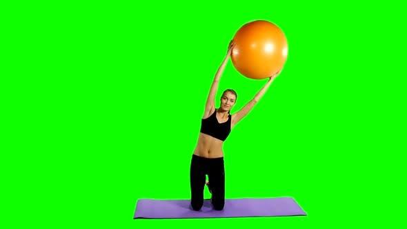 Fitness Girl Doing Fitness Exercise, Fitness-ball, Gym, Green Screen