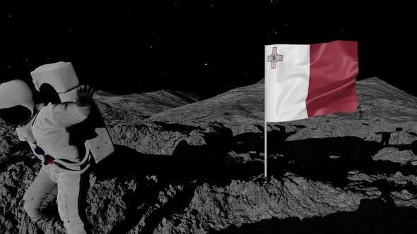 Astronaut Planting Malta Flag on the Moon