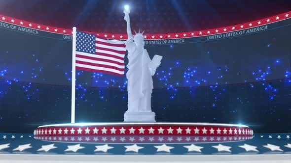 Thumbnail for Usa Broadcast Background With Flag And Liberty Of Statue
