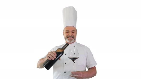 Chef Tasting Red Wine and Enjoying It on White Background