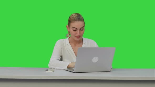 Thumbnail for Young Secretary Tired at Work Place, Yawn on a Green Screen, Chroma Key.