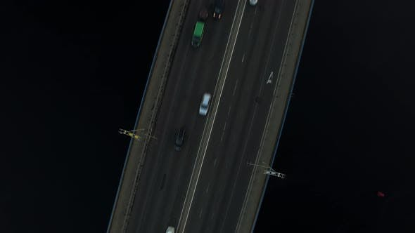 Thumbnail for Top View Car Driving on River Bridge. Car Traffic on Bridge Highway Over River