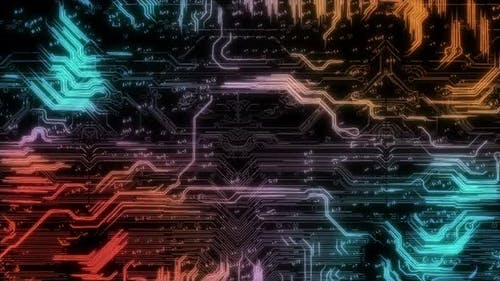 Electrons Move Around the Motherboard Around the Processor with a Great Depth of Field