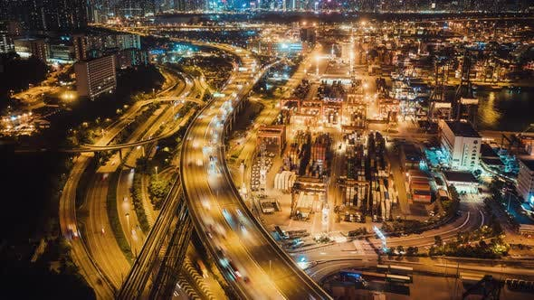 Thumbnail for Hyperlapse Time-Lapse of Hong Kong Port Industrial District and Highway Traffic, Drone Aerial View