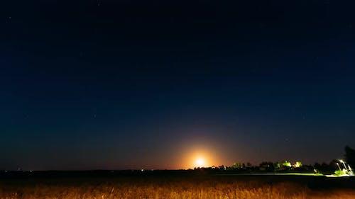 Time Lapse Timelapse Timelapse Of Moonrise Above Belarusian Village In Eastern Europe