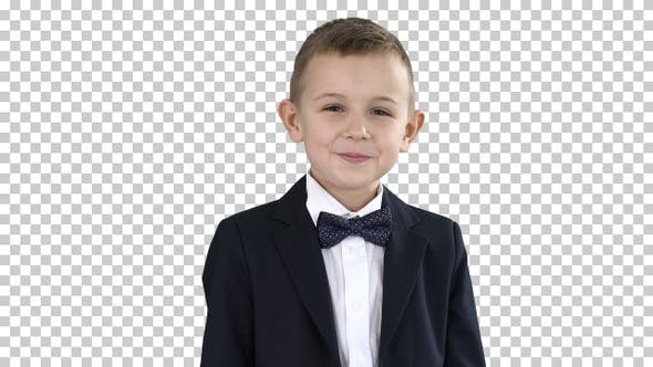 Thumbnail for Smiling little boy in formal clothes standing, Alpha Channel