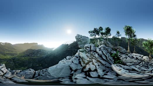 Vr 360 Aerial Camera Moving Above Rocks in Mountains. Ready for VR