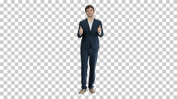 Thumbnail for Confident businessman showing thumbs up, Alpha Channel