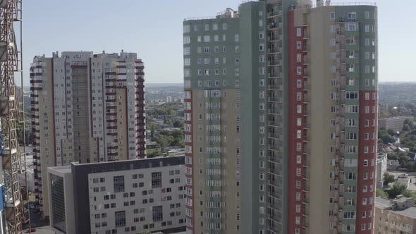 Thumbnail for Big City Aerial View. Drone Shot of Residential Quarters of Kharkov City on Sunny Summer Day.