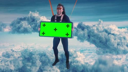 Excited Parachutist with Chromakey Banner