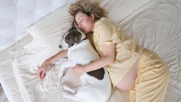 Junge Schwangere Frau Umarmung Ihr Hund Während Schlafen Im Bett