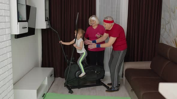 Thumbnail for Active Old Senior Grandfather Grandmother Training Kid Granddaughter How To Using Orbitrek at Home