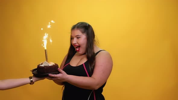 Happy Birthday Excited Fatty Woman Party Time