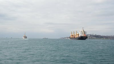 Cargo Ship Sailing on Bosphorus Strait View in Motion