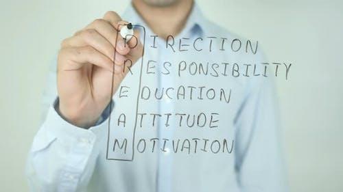 DREAM, Direction Responsibility Education Attitude Motivation, Writing On Screen
