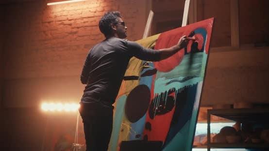 Artist Painting Abstract Artwork Studio