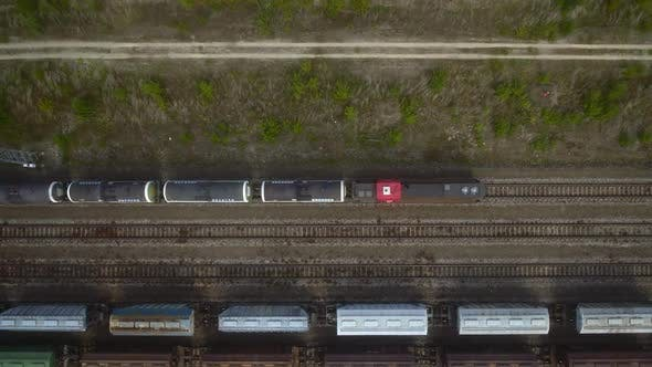 Top View of a Freight Train Carrying Oil