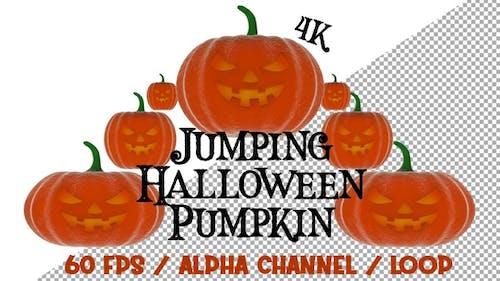 4k Jumping Halloween Pumpkin