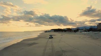 Jeep car running on the Beach
