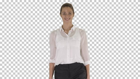 Thumbnail for Happy Cheerful Young Businesswoman Walking, Alpha Channel
