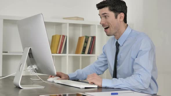 Thumbnail for Excited Businessman Celerating Success of Project