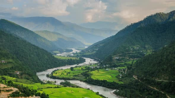 Thumbnail for Beautiful time lapse of the Punakha Valley in Bhutan.