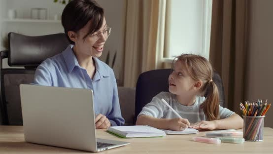 Thumbnail for Portrait of Two Female Persons, Young Smiling Woman Uses Computer for Presentation in Lesson with