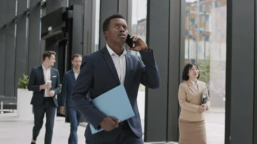 African-American Businessman Having Phone Call