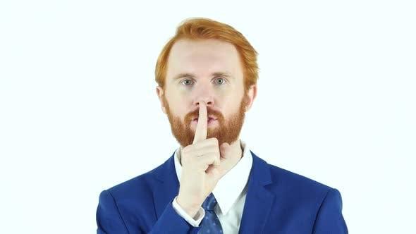 Thumbnail for Gesture of Silence, Red Hair Beard Businessman, Finger on Lips