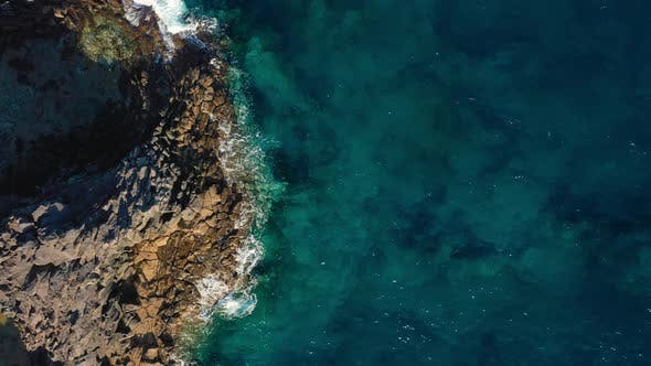 Thumbnail for Top View of a Deserted Coast, Rocky Shore of the Island of Tenerife, Aerial Drone Footage of Ocean