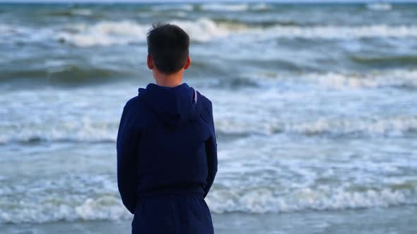 Thumbnail for Back View of a Boy Near the Blue Sea