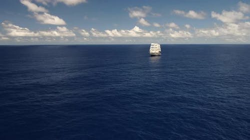 Sailing ship in the open ocean. Travel. Freedom.