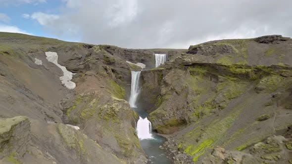 Thumbnail for Aerial View of Waterfalls in Volcanic Nature in Iceland
