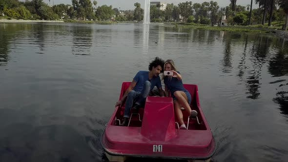 Thumbnail for Cute Couple Enjoying A Boat Ride In The Park