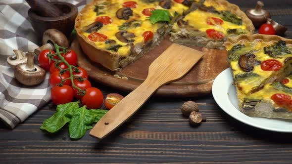 Thumbnail for Traditional French Baked Homemade Quiche Pie on Wooden Board