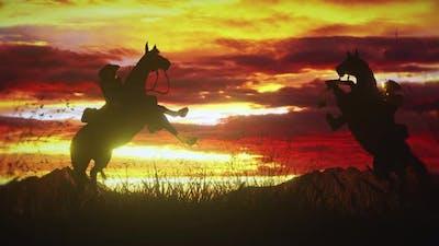Two Cowboys on Horseback