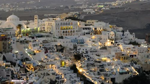 Night Timelapse of Fira Town, Santorini