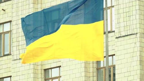 Ukrainian Flag. Close-up. Ukraine. Kyiv