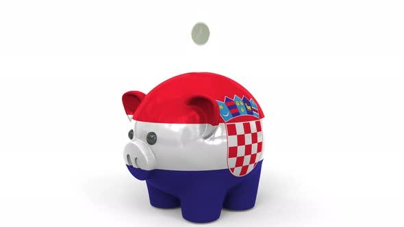 Thumbnail for Coins Fall Into Piggy Bank Painted with Flag of Croatia