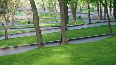 Jogger and Pet Owners in the Morning Park