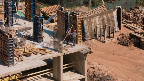 Thumbnail for Constructors Working at Construction Site Residential Building Work with Steel Rebar Structures