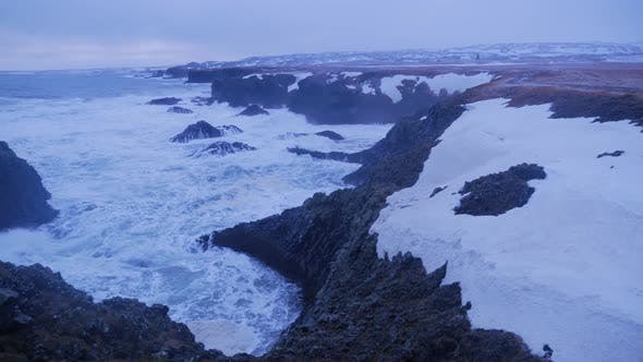 Thumbnail for Rough Ocean Water Crashing against Rock Cliffs in Arnarstapi in Iceland