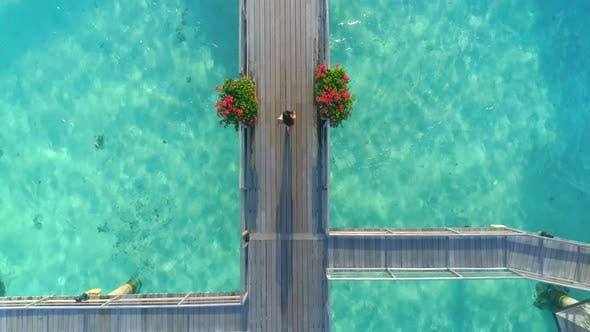 Thumbnail for Aerial drone view of a woman walking between the overwater bungalows in Bora Bora tropical island.