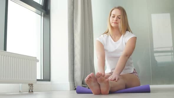 Thumbnail for Gorgeous Slim Girl Practicing Yoga in Studio