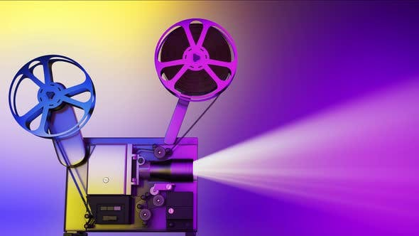 Film Projector Copyspace Against Colorful and Multicolored Copy Space Background