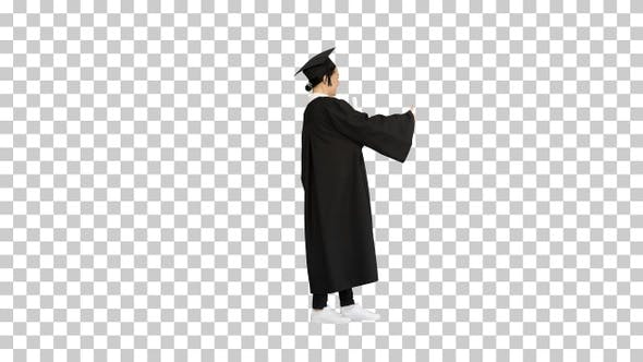 Thumbnail for Happy graduate woman holding diploma and thumb up, Alpha Channel
