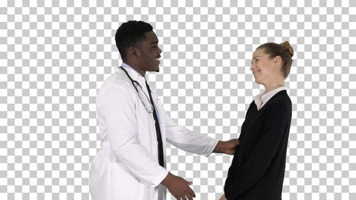 Doctor Telling Good News to A Patient, Alpha Channel