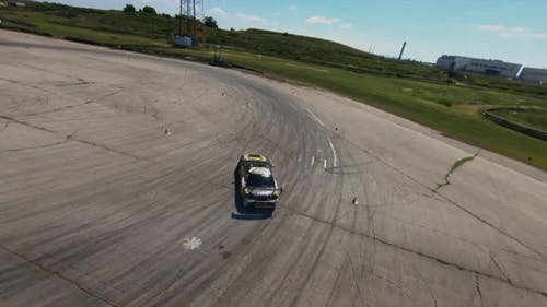 Flying Over the Drifting Car FPV Copter